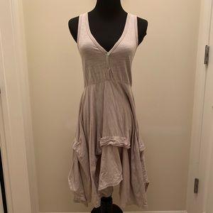 Heather Gray Asymmetrical Tiered Skirt Dress